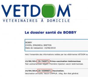Dossier vétérinaire en ligne VETDOM vétérinaires à domicile