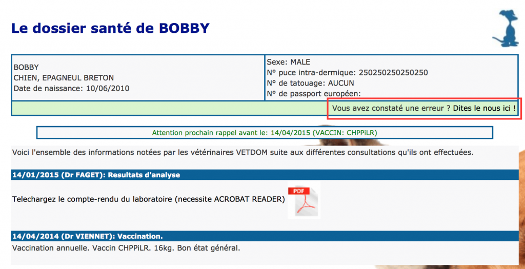Exemple du dossier vétérinaire en ligne pour les clients VETDOM à Narbonne